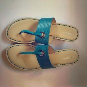 Liz Claiborne Wedge Sandals. Teal.